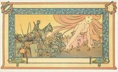 1982 Alphonse Mucha (After) 'Soldier's Dream' Art Nouveau Yellow,Turquoise,Paste