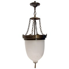 Waldorf Astoria Bell Jar Pendant with Opaque Glass and Darkened Brass Rim