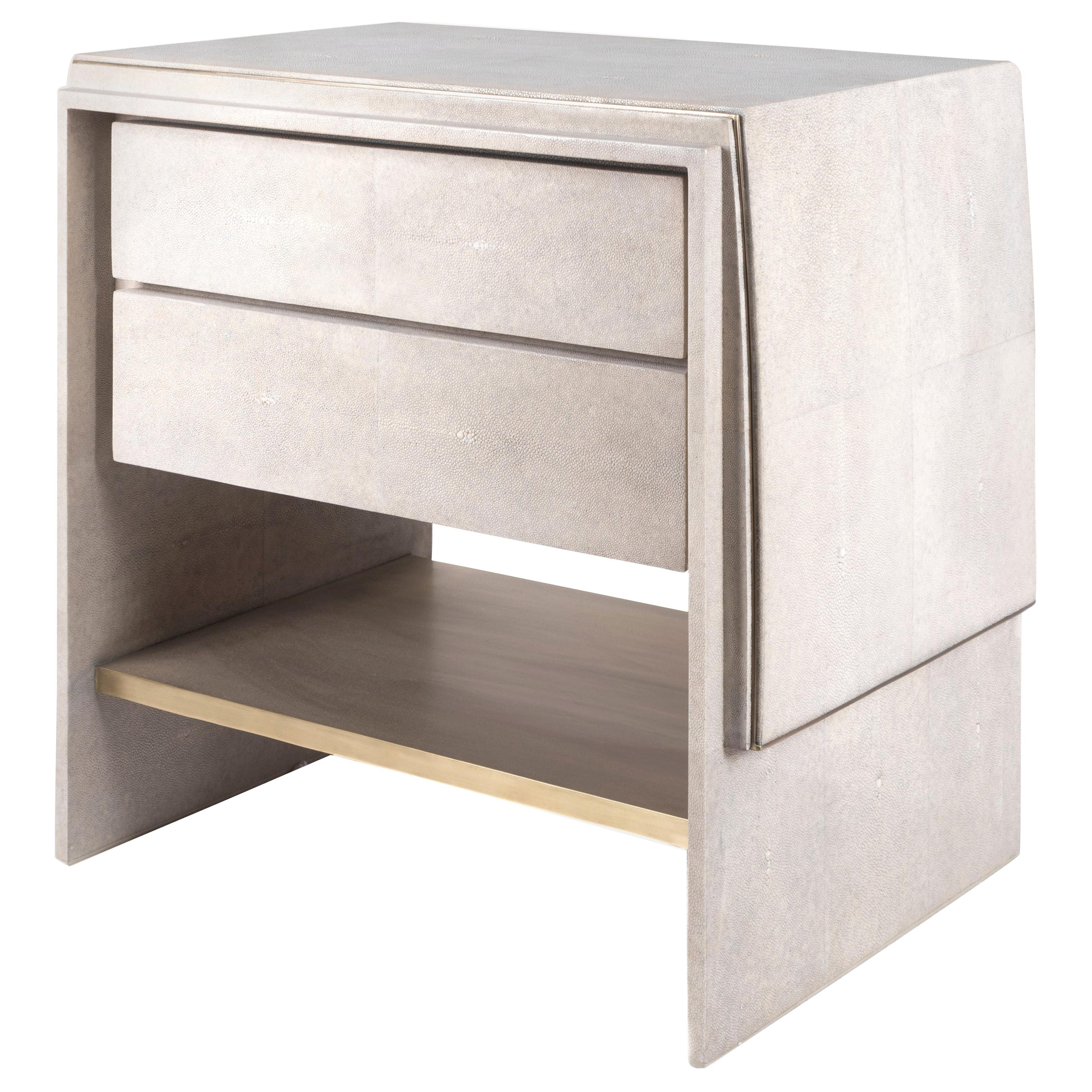 Waldorf Bedside Table in Cream Shagreen and Bronze Patina Brass by R&Y Augousti