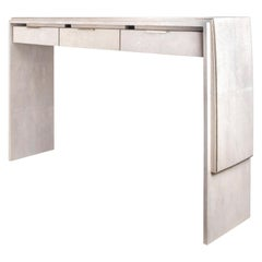 Waldorf Console in Cream Shagreen and Bronze-Patina Brass by R&Y Augousti