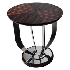 Waldorf, Side Table with Macassar Top and Stainless Steel Base