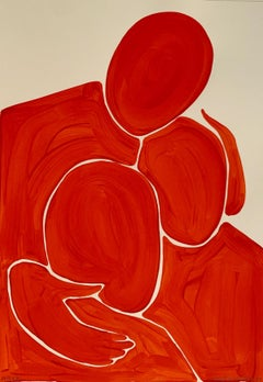 A care - Figurative Painting on Paper, Minimalist, Colorful, Vibrant