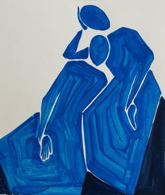 A contemplation - Figurative Painting on Paper, Minimalist, Colorful, Vibrant