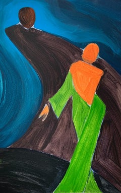 A dance - Figurative Painting on Paper, Young art, Colorful, Vibrant