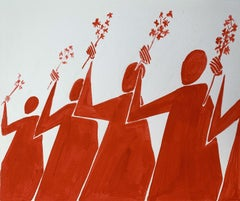 A declaration - Figurative Painting on Paper, Young art Minimalism, Vibrant