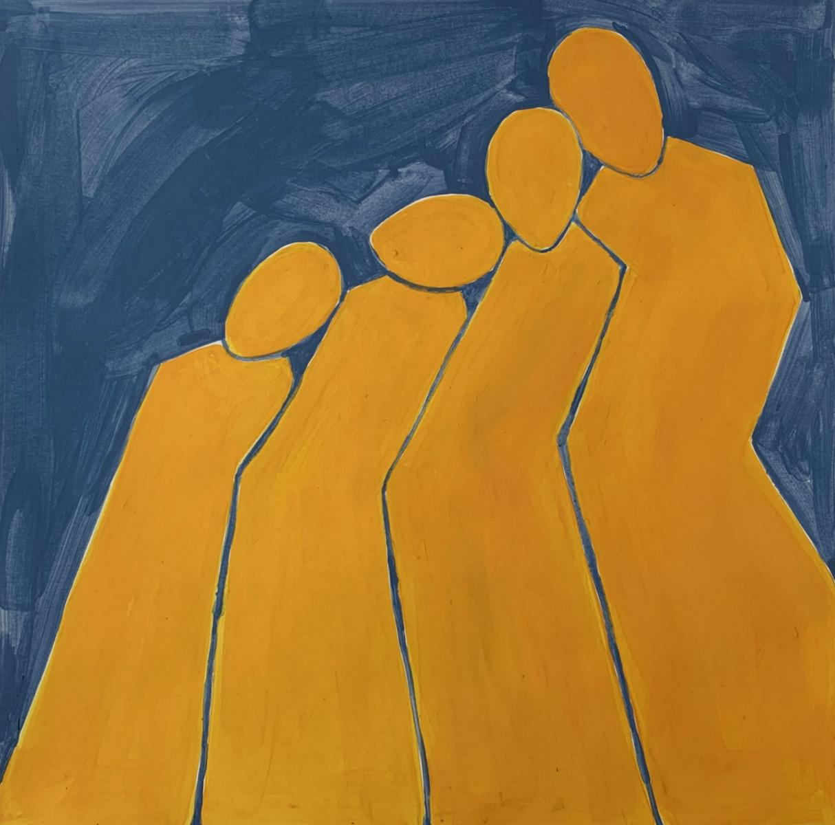A family - Figurative Acrylic Painting on Paper, Young art, Minimalism