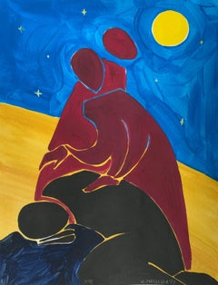 A night - Figurative Painting on Paper, Young art, Minimalism, Vibrant