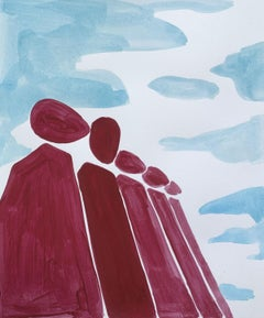 A revolutionist - Figurative Painting on Paper, Young art, Minimalism, Vibrant