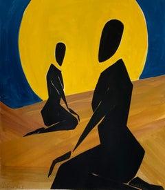 Arabian night 2 - Figurative Painting on Paper, Young art, Minimalism, Vibrant