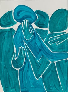 Between friends - Figurative Painting on Paper, Minimalist, Colorful, Vibrant
