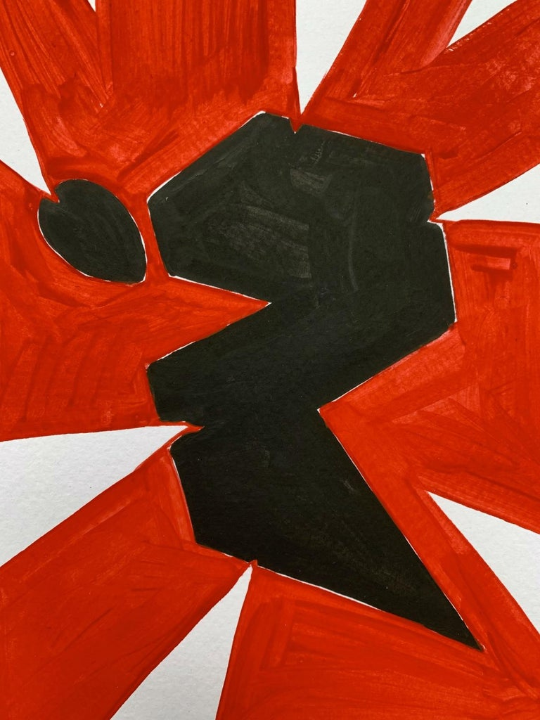 Black figure - Figurative Painting on Paper, Young art, Minimalism, Vibrant  For Sale 1