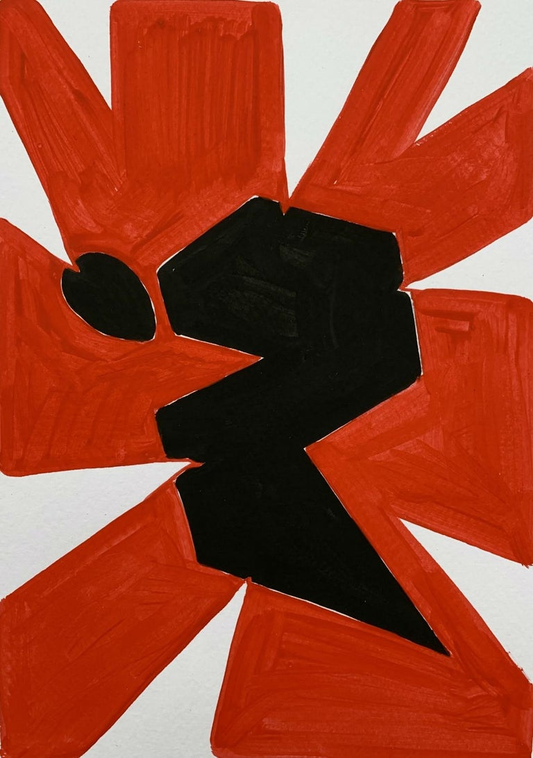 Waleria Matelska Abstract Painting - Black figure - Figurative Painting on Paper, Young art, Minimalism, Vibrant