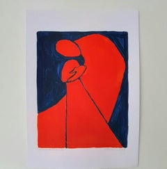 Blessing - Figurative Painting on Paper, Young art Minimalism, Vibrant