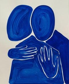 Blue figures - Figurative Painting on Paper, Minimalist, Colorful, Vibrant