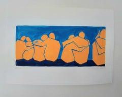 Coast of bond - Figurative Painting on Paper, Young art Minimalism, Vibrant