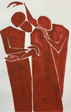 Compassion - Figurative Painting on Paper, Young art Minimalism, Vibrant