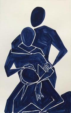 Familia - Figurative Painting on Paper, Young art Minimalism, Vibrant
