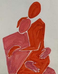 Figures in embrace - Figurative Painting on Paper, Minimalist, Colorful, Vibrant