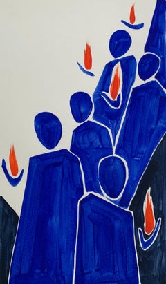 Flames - Figurative Painting on Paper, Minimalist, Colorful, Vibrant