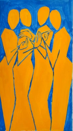 Friends - Figurative Painting on Paper, Young art Minimalism, Vibrant
