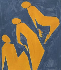 Getting higher - Figurative Acrylic Painting on Paper, Young art, Minimalism