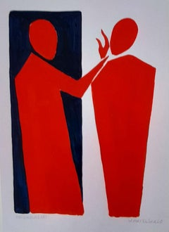 Greeting - Figurative Painting on Paper, Young art Minimalism, Vibrant