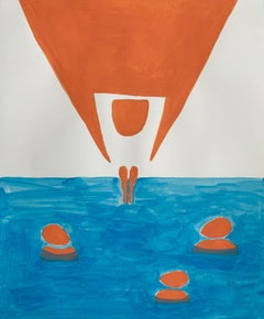 Jump - Figurative Painting on Paper, Young art Minimalism, Vibrant