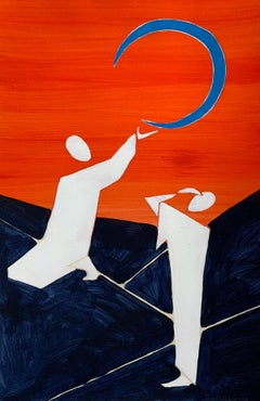 Moon in the sky - Figurative Painting on Paper, Young art, Colorful, Vibrant