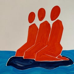On a small island - Figurative Painting on Paper, Minimalist, Colorful, Vibrant
