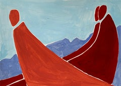 Parents - Figurative Painting on Paper, Young art Minimalism, Vibrant