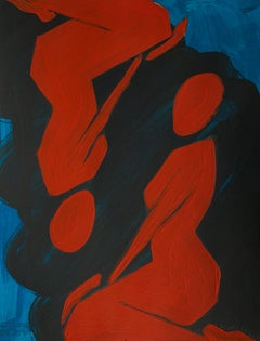 Red women - Figurative Painting on Paper, Young art, Minimalism, Vibrant