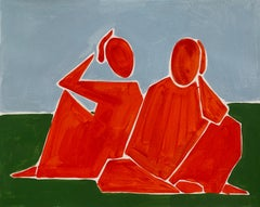 Reflecting - Figurative Painting on Paper, Minimalist, Colorful, Vibrant