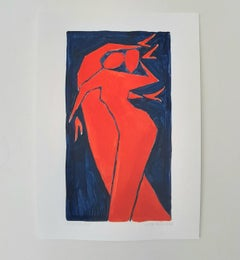 Sensuality - Figurative Painting on Paper, Young art Minimalism, Vibrant
