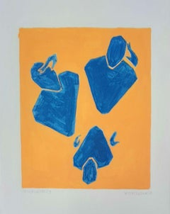 Spectators - Figurative Painting on Paper, Young art Minimalism, Vibrant