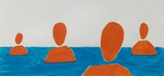 Standing in a water - Painting on Paper, Young art Minimalism, Vibrant
