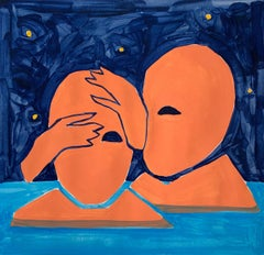 Starry night - Figurative Painting on Paper, Young art Minimalism, Vibrant