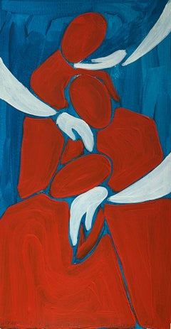 Support from the other side- Figurative Painting on Paper, Young art, Minimalism