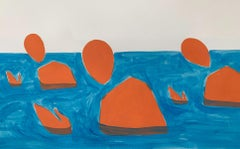 Swimmers - Figurative Painting on Paper, Young art Minimalism, Vibrant