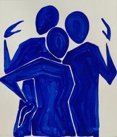 Three blue figures - Figurative Painting on Paper, Minimalist, Colorful, Vibrant