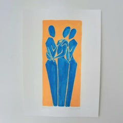 Three graces - Figurative Painting on Paper, Young art Minimalism, Vibrant