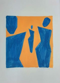 Three people - Figurative Painting on Paper, Young art Minimalism, Vibrant