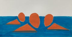 Three swimmers - Figurative Painting on Paper, Young art Minimalism, Vibrant