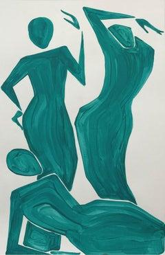 Three women - Figurative Painting on Paper, Young art Minimalism, Vibrant