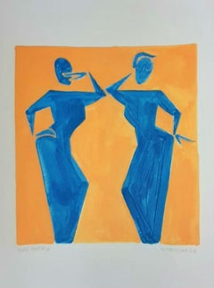 Two people - Figurative Painting on Paper, Young art Minimalism, Vibrant