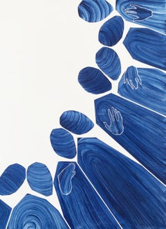 Untitled - Acrylic painting, Young art, Minimalism, Vibrant, Vertical, Deep blue