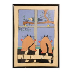 Colorful Abstract Modern Cartoon Cat and Birds Still Life Monotype Print