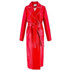 Walk of Shame Moscow Red Laminated Tweed Coat IT 40