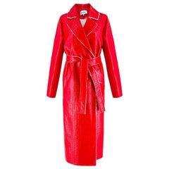 Walk of Shame Moscow Red Laminated Tweed Coat -  size 4