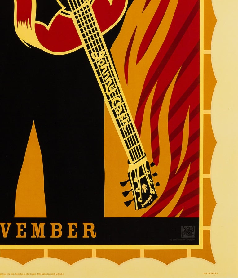 "We adore the design on the US 1 sheet advance (double-sided) film poster by contemporary American artist Shepard Fairey for Johnny Cash biopic ""Walk the Line"". One of the few relatively recent film posters worth adding to your collection.