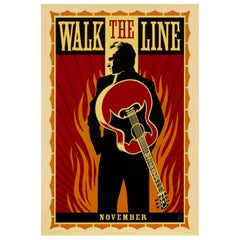 'Walk the Line' Original Vintage Movie Poster by Shepard Fairey, American, 2005